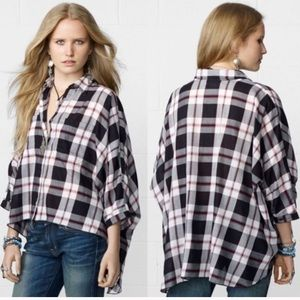 Denim & Supply Ralph Lauren hi low plaid top XS